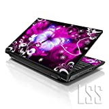 LSS 15 15.6 inch Laptop Notebook Skin Sticker Cover Art Decal Fits 13.3' 14' 15.6' 16' HP Dell Lenovo Apple Asus Acer Compaq (Free 2 Wrist Pad Included) Purple Butterfly Floral