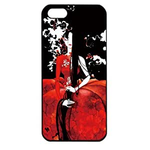 Black Glamorous Elegant Cartoon Beautiful Girl Apple iPhone 5 TPU Soft Black or White case (Black)