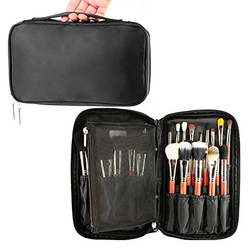 (MONSTINA Professional Makeup Brush Organizer Cosmetic Case/Bag Makeup Handbag for Travel & Home Gift(Black))