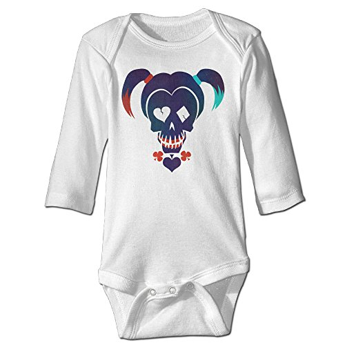 - Kamici Inflant Suicide Squad Harley Quinn Long Sleeve Romper Suit Climb Clothes White 12 Months