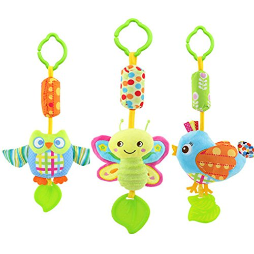 SKK Baby Clip on Wind Chime Teether Plush Toy For Newborn to Kids