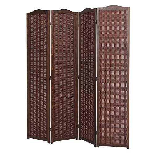 Deluxe Brown Natural Woven Design Bamboo 4 Panel Folding Room Divider / Portable Privacy Screen - MyGift®