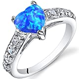 Created Blue-Green Opal Ring Sterling Silver Heart Shape 1.00 Carats Sizes 5 to 9