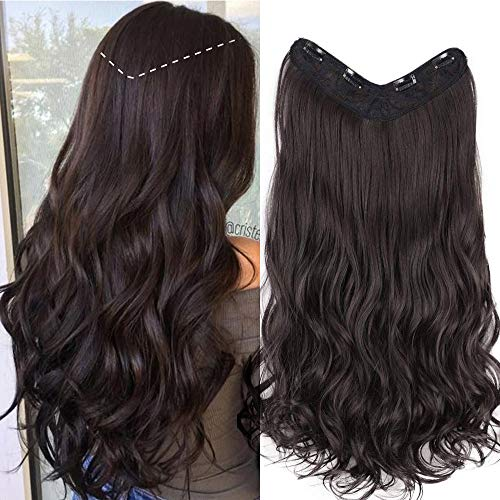 (Stamped Glorious 22''Curly Hair Extensions 3/4 Full Head Curly Wavy Clip in on Hair Extensions Synthetic 4 Clips Medium Brown Hair Extensions for Women 1 Pack)