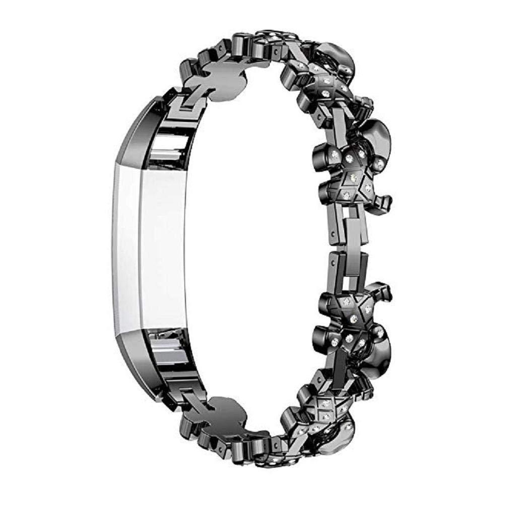 Fashion Clearance! Noopvan Straps Compatible Fitbit Alta HR Ace Women Adjustable Metal Stainless Replacement Elegant Jewelry Design Dressy Bracelet Diamond, Rose Gold, Silver, Black (Black)