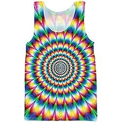 edword_yimsun Men 3D Print Tank Tops Clothing Vest Stringer Singlets Psychedelic Colorful Shirt Plus Size,Men Tank Tops,XL