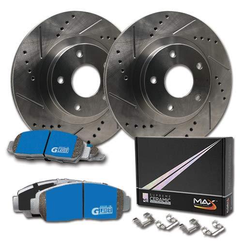 Max Brakes Front Premium Slotted Drilled Rotors w/M1 Brake Pads Supreme Brake Kit KM046131 | Fits: 2009 09 Infiniti G37 Coupe & Convertible Models w/Std Brakes