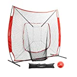 Pinty Baseball and Softball Practice Net 7'×7′ Portable Hitting Batting Training Net with Target Zone Bundle+ Weighted Training Balls + Baseball Softball Batting Tee + Ball Caddy & Carry Bag