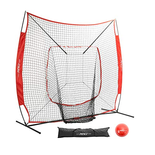 - Pinty Baseball and Softball Practice Net 7×7/5×5ft Portable Hitting Batting Training Net with Target Zone Bundle, Weighted Training Balls and Carry Bag(7×7ft)