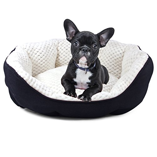 Plush Linen Lounger Pet Bed for Dogs or Cats by Cozy Cuddlerz| Deluxe, Ultra Soft, Octagonal Bed Filled with 100% Recycled Fibers| Super Cozy Luxurious Design| Pink or Black| 2 Sizes (24x18x8