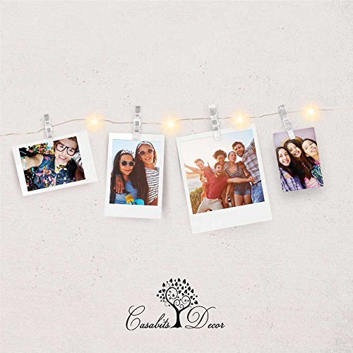 Casabits Decor LED Photo String Lights PREMIUM 20 Clips Battery Powered Fairy Lights, Wedding Party Home Decor Lights for Hanging Photos, Cards and Artwork, 8.2 Feet, Warm White