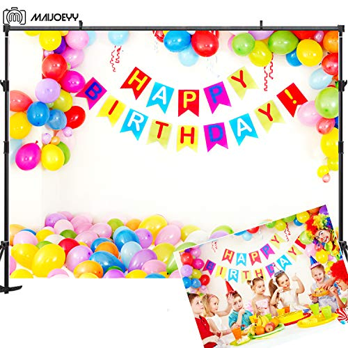 Birthday Party Backdrop 7x5ft Colorful Balloons Photography Backdrop Baby Party Decorations Photography Props Photo Studio for Girls Kids Birthday Backdrop Banner