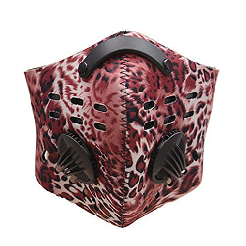 (Half Face Mask,iWEingHo&21 Outdoor Cycling Activated Carbon Filter Windproof Anti Dust Half Face Mask - Scarlet Leopard)