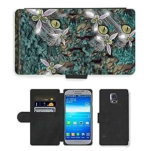 PU LEATHER case coque housse smartphone Flip bag Cover protection // M00153096 Gato Color de flor Texturas // Samsung Galaxy S5 S V SV i9600 (Not Fits S5 ACTIVE)