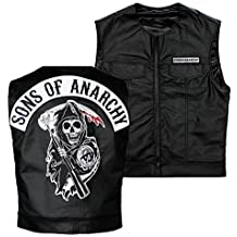 Sons Of Anarchy Officially Licensed Black Redwood Original Samcro Biker Vest with Reaper Patch - Size: Small