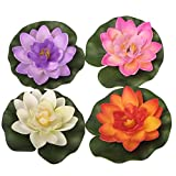 4PCS Set Artificial EVA Lotus Floating Water Lily Blooming Mini Foam Flower Head Pool Fish Tank Pond Home Garden Decoration (10cm)