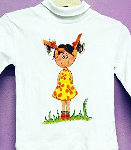 Camiseta pintada a mano Niña con lazos. Se personaliza