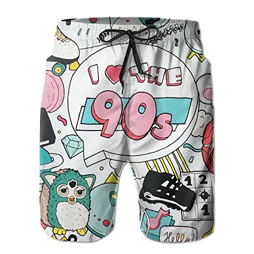 Doppyee I Love The 90s Printing Men's Quickly Drying Yoga Board Short Soft Short Swimming Beach Pants Surf Sweat Pant Trousers With Pockets