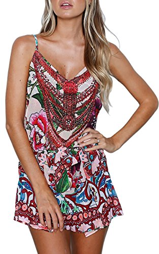 ECOWISH Womens Jumpsuits Summer Spaghetti Strap Floral Print Jumpsuit V Neck Short Pants Rompers Playsuits White XL