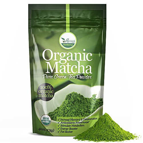 uVernal WellBeing Organic Matcha Green Tea Powder -100% Pure Matcha (No Sugar Added - Unsweetened Pure Green Tea - No Coloring Added Like Others) 4 oz