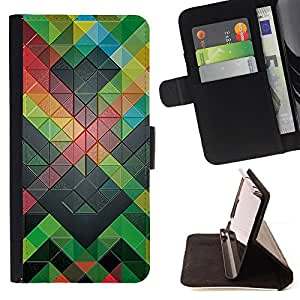 DEVIL CASE - FOR Apple Iphone 6 PLUS 5.5 - Polygon Pattern Modern Abstract Green - Style PU Leather Case Wallet Flip Stand Flap Closure Cover
