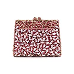 Elegantly Carved Metal Flowers Clutch With Stones