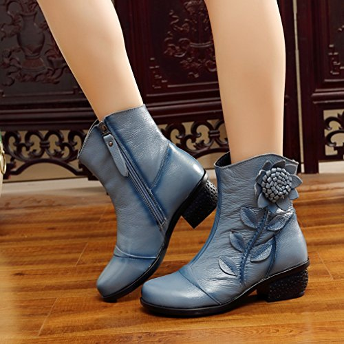Bottom Flower Ankle Soft Womens Round Mid Bootie Blue Lined Heel Winter Boots Toe Btrada Comfortable Fur gHAq7wHY