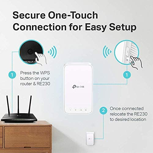 TP-Link AC750 WiFi Extender (RE230), Covers Up to 1200 Sq.toes and 20 Devices, Dual Band WiFi Range Extender, WiFi Booster to Extend Range of WiFi Internet Connection, OneMesh Compatible