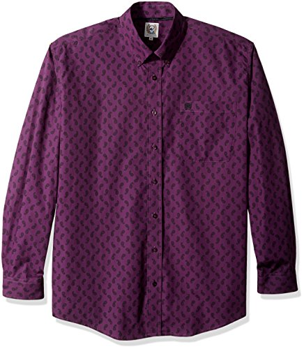 Cinch Men's Classic Fit Long Sleeve Button One Open Pocket Print Shirt, Purple Paisley, Medium