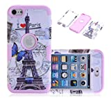 iPod Touch 6 Case, CexCob Eiffel Tower Hybrid 3 in 1 Shield Series with Soft Silicone Inner Case Impact Resistant Armor Combo for Apple iPod Touch 6th Generation, Lilac