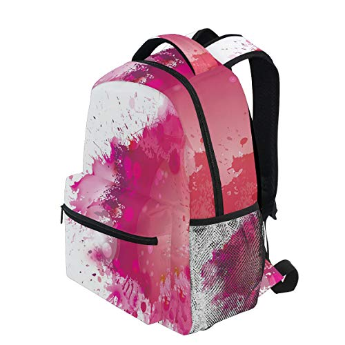 (KVMV Artistic Display with Pink Watercolor Splashes Paint Splatters Fluid Brush Lightweight School Backpack Students College Bag Travel Hiking Camping Bags)