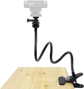 25 Inches Webcam Stand, Gooseneck Webcam Mount, Flexible Desk Clamp Holder for Logitech Webcam C920s,C930e,C930,C920,C922x,C922, Brio 4K, C925e,C615