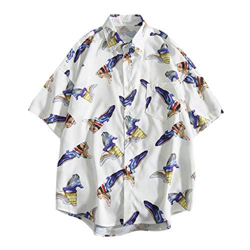 Toimothcn Button Down Shirts Men's Hawaiian Shirt Baggy Short Sleeve Floral Printed Aloha Shirt(White3,L)