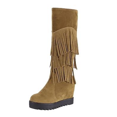 d587eedd10 UH Damen kniehohe Stiefel mit keilabsatz Fransen Stiefel mit Fell Herbst  Winter Schuhe