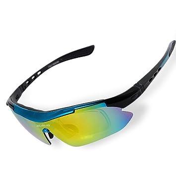 SAVADECK TR90 Gafas de Sol Deportivas Polarizadas Manera Reflexiva de Deportes al Aire Libre para Bicicleta Actividades con 5 Lentes de Cambio (Azul): ...