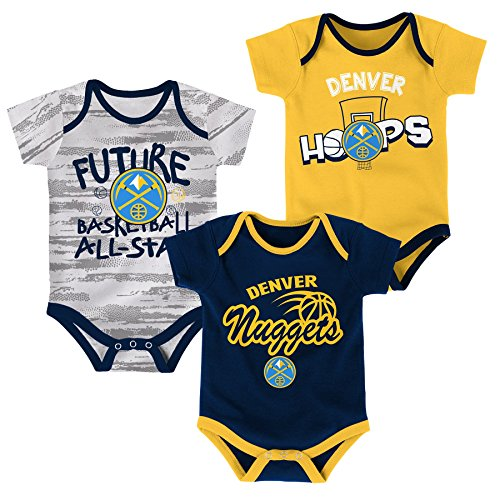 OuterStuff NBA Newborn & Infant 3 Piece Onesie Set Denver Nuggets-Dark Navy-0-3 Months (Nuggets Set Denver)