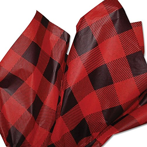 Lumberjack TISSUE PAPER (Red Buffalo Plaid) for Christmas Gift Wrapping, 24 Sheets
