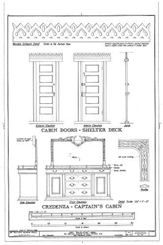 - Historic Pictoric Blueprint Diagram Cabin Doors-Shelter Deck; Credenza-Captain's Cabin - Ship BALCLUTHA, 2905 Hyde Street Pier, San Francisco, San Francisco County, CA 08in x 12in