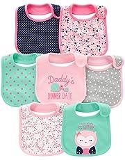 Simple Joys by Carter's Baberos de dentición para bebé, paquete de 7 unidades, color rosa y menta, talla única