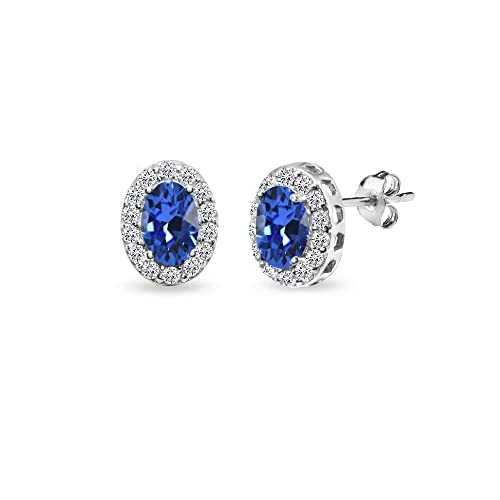 285fd390d461d5 Sterling Silver Blue 6x4mm Oval Halo Stud Earrings Made with Swarovski  Crystals