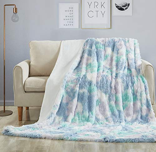 Hobed Life Fluffy Faux Fur Throw, Gorgeous Shaggy Blanket for Love Seat, Chair, Couch and Bed, Pastel Stylish Design, Fantastic Quality Throw