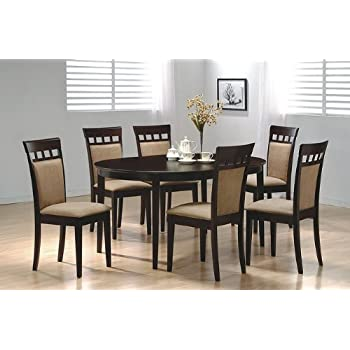 Amazon.com - Oval Dining Room Wood Table Chair Set Kitchen Chairs ...
