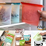 Silicone Reusable Food Bags | Multi function ✔ Airtight Seal ✔ Versatile ✔ Smell Proof ✔ Food Saver Storage Bags | PACK OF 4 BAGS | Easy Storage, Meal Preparation and Lunch Packing!