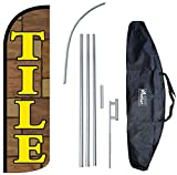 ''TILE'' 12-foot KING SIZE Complete Swooper Feather Flag and Case Set...includes 12-foot Flag, 15-foot Pole, Ground Spike, and Carrying/Storage Case