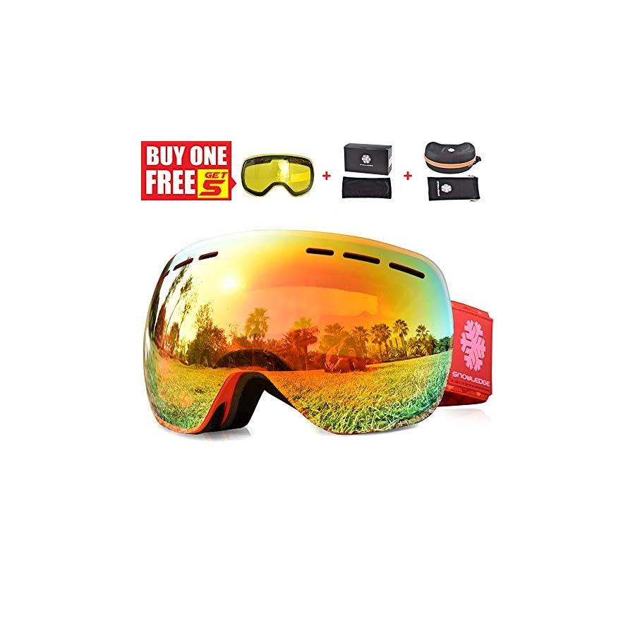 HUBO SPORTS HUIYU Snowledge Snowboard Goggles Women,Ski Goggles Women with OTG Dual Lens,Ski Goggles for Girl, Adult Youth Frameless Interchangeable Lens 100% UV Protection Anti Fog