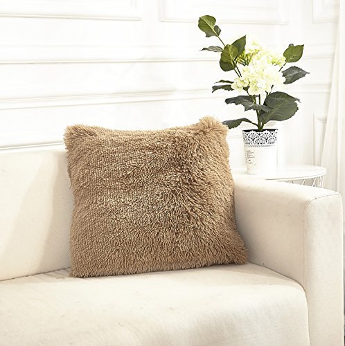 Faux Shaggy Fur Square Throw Pillow Cover (Just Cases Without Pillow Insert) 18