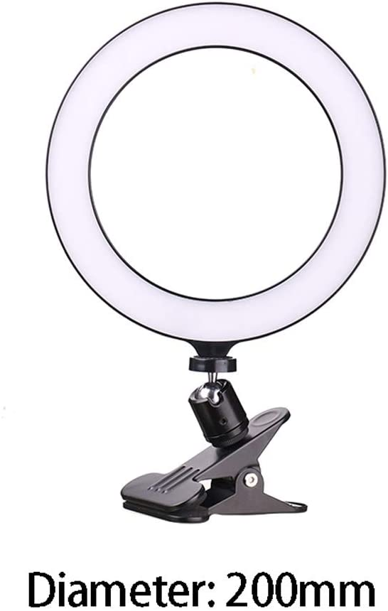 Color : Black, Size : 200mm Fill Light Anchor Beauty Beauty Skin Rejuvenation Indoor Live Lighting Photo Artifact Computer Small Table Lamp HD Photo