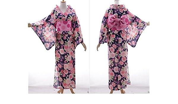 Kawaii-Story K DE 73 Morado Flores Original Japón Mujer Kimono Yukata OBI Cinturón Algodón: Amazon.es: Juguetes y juegos