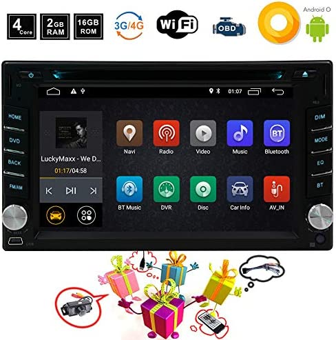 Android 8.1 Car GPS Radio DVD Player 2 Din Android Car Stereo Navigation with WiFi and Bluetooth Quad Core 2GB 16GB 6.2 Inch 1024×600 Capacitive Touchscreen 1080p, Include Free Rear Camera and Remote