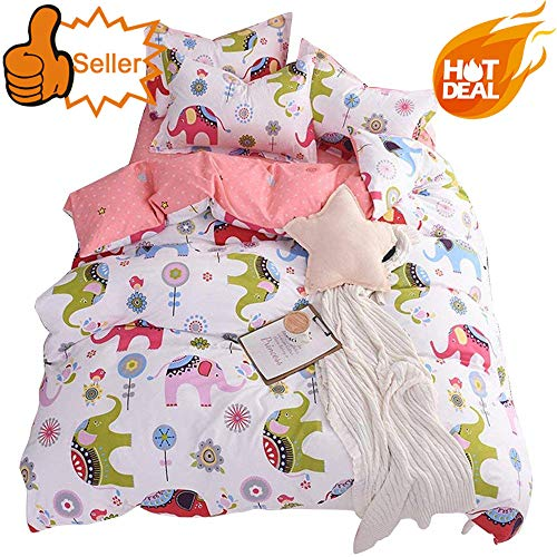 OTOB Cartoon Girls Bedding Sets, Soft Elephant Print Cotton Duvet Cover Set for Boys Kids Toddler Children Teen Domitory, Polka Dot Boys Bed Set Collections Gifts, Reversible Lightweight, Pink, Twin ()